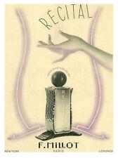 """Publicité Ancienne """" Parfum Récital F. Millot 1939 """""""