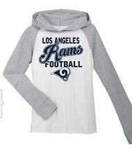 NFL LOS ANGELES RAMS HOODED LONG SLEEVE SHIRT YOUTH GIRLS SZ XS (4/5) S(6/6X)