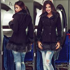 Chaqueta señora abrigo blazer de transición chaqueta remiendos con pelaje negro 34 - 38 #es1