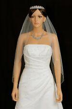 Handmade 1T White / Ivory Fingertip Length Silver Beaded Bridal Wedding Veil