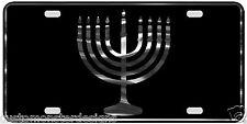 Menorah License Plate Judaism Hanukkah Religious Chrome & Regular Vinyl Choices