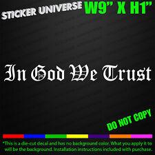 IN GOD WE TRUST Old English Font Car Window Decal Bumper Sticker Church God 0524