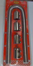 "Chrome Stainless Steel Radiator Hose Kit 48"" UNIVERSAL Aluminum Clamp Covers RPC"