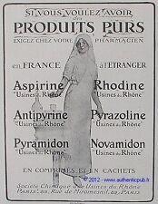 PUBLICITE ASPIRINE RHODINE PYRAMIDON INFIRMIERE MEDICAMENT DE 1916 FRENCH ADVERT