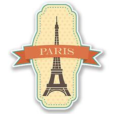 2 x Paris France Sticker Voiture Moto Autocollant Ordinateur Portable iPad Voyage bagages Cadeau # 4218