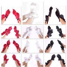 Damen Handschuhe kurz Satin Braut Hochzeit Abendmode Gala dehnbar super Passform