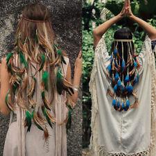 Fashion Headband Gypsy Long Feather Rope Crown Women Headdress Festival Wedding