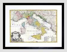 MAP ANTIQUE HOMANN HEIRS ITALY MEDITERRANEAN SEA FRAMED ART PRINT MOUNT B12X7057
