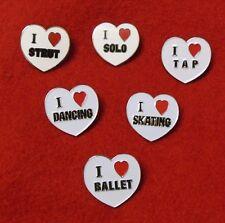 "LOT of 3  Enameled Heart Pin Dance Ballet Strut Lyrical Skate Tap Solo 1"" x 1"""
