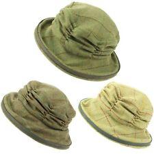 Tweed Cloche Cappello Donna Lana Inverno Orlo Hawkins verde arricciato CORONA