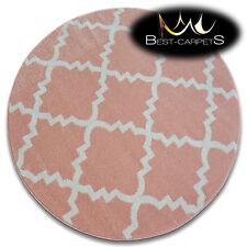 incroyable épais Tapis Modernes brouillon Treillage crème rose F343 cercle
