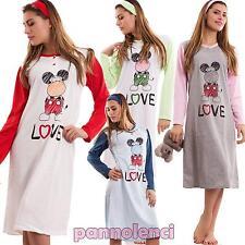 Camicia da notte donna intimo cotone maniche lunghe fascia pigiama nuovo 3955
