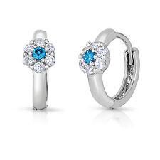 Sterling Silver Simulated Birthstone Cz Flower Huggie Earrings for Children Girl