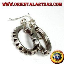 Orecchini pendente in puro argento cerchio dentato tribale Karen fatto a mano