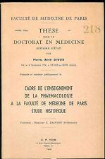 Thèse Histoire Médicale historique Pharmacologie à Paris 1964 Pierre René GIROD