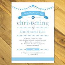 Personalised Christening invitations girl boy bunting