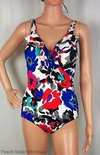 NWT INC Ruffle Wrap One-Piece Swimsuit Multicolor Floral Bathing Suit Size 8-20
