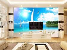 Concise Blue Sea 3D Full Wall Mural Photo Wallpaper Printing Home Kids Decor