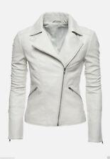 Womens Leather Jacket Motorcycle Biker White Ladies Genuine Lambskin Autumn Coat