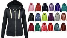 Ladies Women's Zip up Plain Hoodie Jacket with Pockets Sizes XS S M L XL 16-22