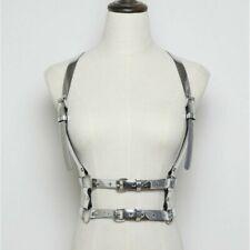 Hüftgurt Kunstleder Verstellbar Metall Kette Nieten Strumpfhalter Band