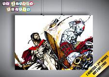 Poster Leonidas VS Sparta kratos 300 - GOD OF WAR Wall Art