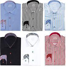 Mens Premium Tailored Cut Slim Shirt Contrast Collar M L XL 2XL Button Casual