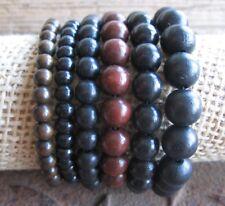 Holz Armband Gummiarmband Herren Surferschmuck Perlen braun schwarz neu Bracelet