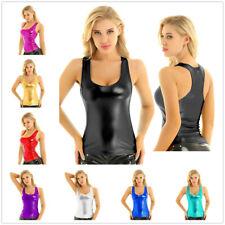 Women Shiny Metallic Racer Back Tank Top Vest Summer Dance Blouse Camisole Party