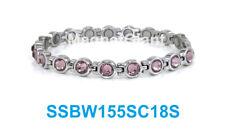 Amethyst Crystals Skinny Women tennis stainless steel link silver bracelet