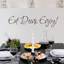 Kitchen Bistro Wall Decal Eat Drink Enjoy Quote Removable Vinyl Art Decor Idea