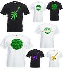 Men Women Short Sleeve T-Shirt Ganja World Cannabis Marijuana Weed Guitar Rasta
