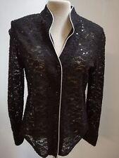 Jacke-Bluse-Damen NAVEED Mode, Ausbrenner Ware, Pailetten, silber Paspel, Mischg