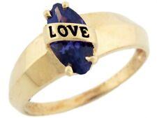 10k Solid Gold Enamel Love Simulated Amethyst February Birthstone Ring