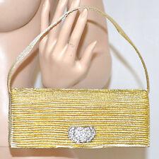 POCHETTE donna ORO borsello CERIMONIA strass borsa clutch cristalli elegante 108