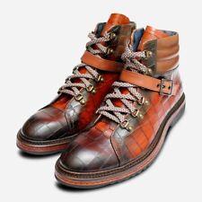 Luxury Brown Crocodile Print Leather Urban Trekking Boots