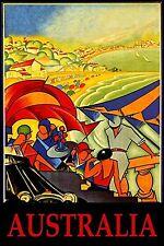 Australia Beach   Vintage Illustrated Travel Poster Print on canvas 90cm