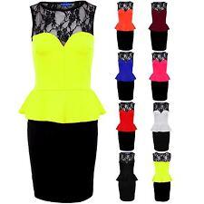 Women's Sweetheart Black Lace Ladies New Peplum Short Dress 8-20