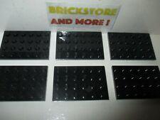 Choose Quantity x1 Lego x8 Plaque Plate 4x6 6x4 3032 Black//Noir
