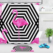 Pink Flamingo Geometric Pattern Bathroom Waterproof Fabric Shower Curtain Liner