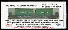 LMH Funaro F&C 6914 BORDEN'S ABBOTT'S SHEFFIELD Bell Twin Milk Tanks 52' Flatcar