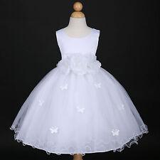 White Communion Dancing Party Wedding Flower Girl Dress 6M 12M 18M 2/2T 4 6 8 10