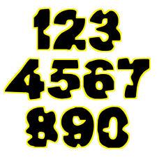 sticker number yellow black helmet adesivi numeri gialli neri moto 2 pz. cm 10-5