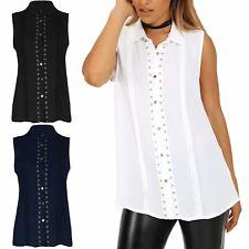 Women Stud Detail Sleeveless Shirt Semi Sheer Pleated Casual Workwear Top