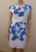 New Lace & Beads London White & Blue Floral Dress Sz UK 10 rrp £55