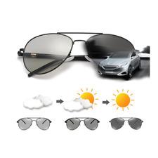 Mens Polarized Transition Photochromic Sunglasses Driving Pilot Goggles Glasses