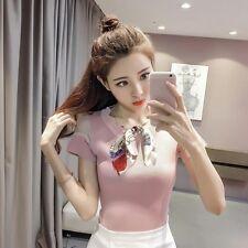 t shirt comoda maglia donna donna maniche corte rosa foulard fashion  4294