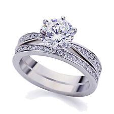 5mm Platinum Plated Silver 2ct CZ Vintage Wedding Engagement Ring Bridal Set