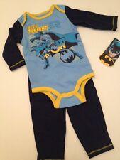Dc Comics Baby Boy Batman Superhero Romper Pants Outfit Set Size 3 6 9 Months