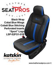 KATZKIN Leather Covers 15-20 F-150 SuperCrew SuperCab XLT Black Cobalt Sport